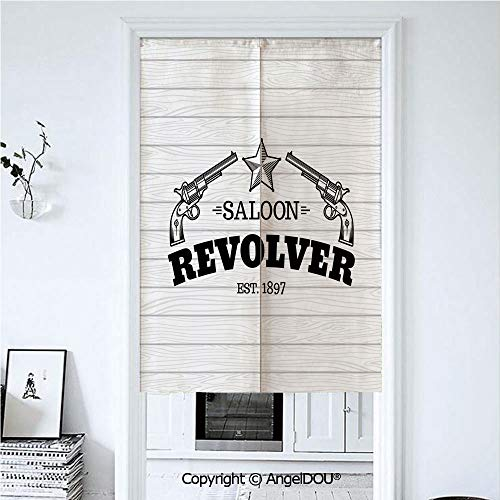 (AngelDOU Western Home Doorway Curtains Decorative Screen Vintage Revolvers Western Saloon Bar Theme Star Abstract Wooden Texture Print Decorative for Hallway Kitchen Hotel Restaurant 33.5x47.2 inches)