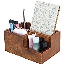 ThyWay Multifunction Wood Pen Pencil Remote Control Plant Holder Desk Storage Box Container (Antique color)