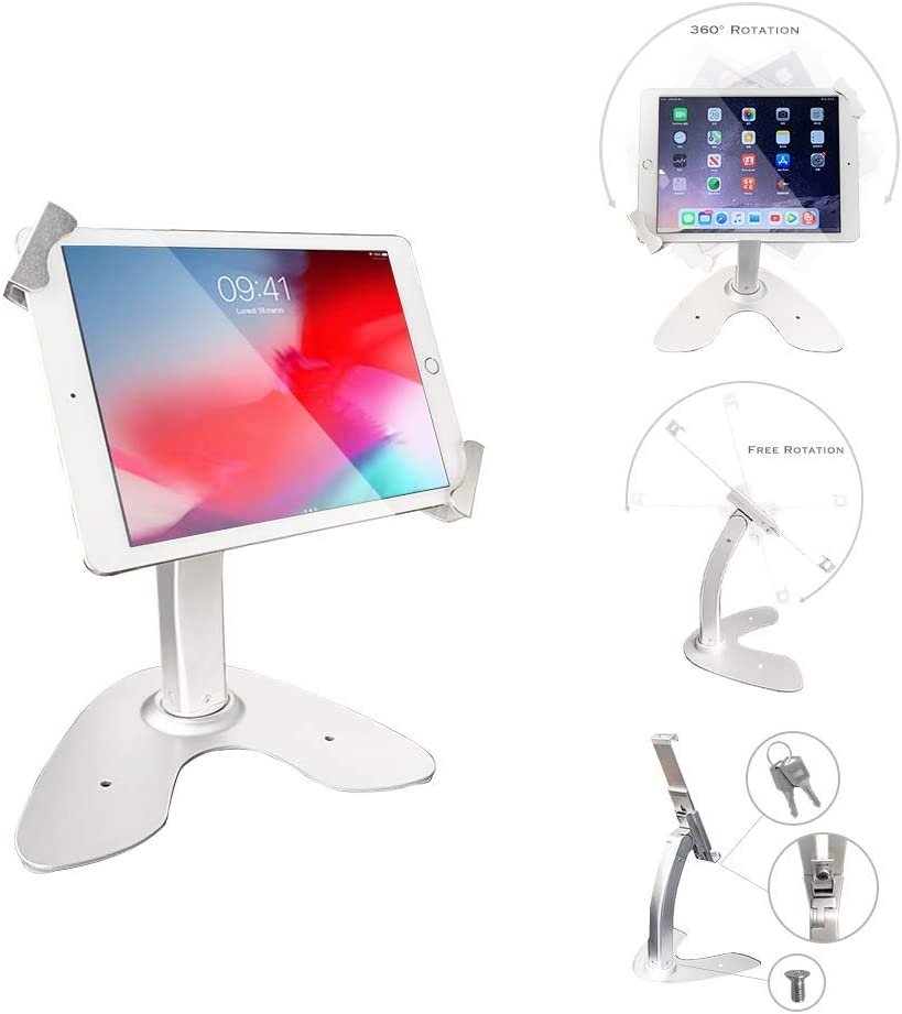 Angel POS Universal Tablet Desktop Anti-Theft POS Stand Holder Enclosure with Lock & Key for Retail Kiosk, Compatible with iPad, iPad Air, iPad Mini, Samsung Galaxy, Acer Lenovo 7-10