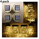 SmilingStore Mason Jar Lid Solar String Lights Wide Mouth, Hanging Fairy Starry Warm White 1.5m Long 30 LED Lighting for Indoor Mason Jars Patio Wedding Lantern Table Decor (Wide Mouth)