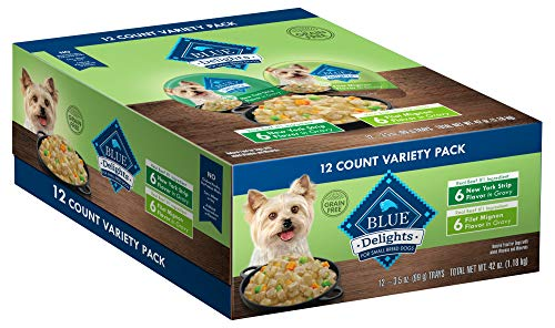 Blue Buffalo Divine Delights Natural Adult Small Breed Wet Dog Food Cups Variety Pack, Filet Mignon Flavor in Hearty Gravy and New York Strip Flavor in Hearty Gravy 3.5-oz (12 pack- 6 of each flavor) (Healthy Soft Dog Food For Senior Dogs)