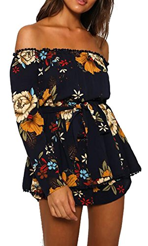 MAXIMGR Women's Summer Off Shoulder Floral Print Long Sleeve Short Jumpsuit Romper Size L (Dark Blue) ()