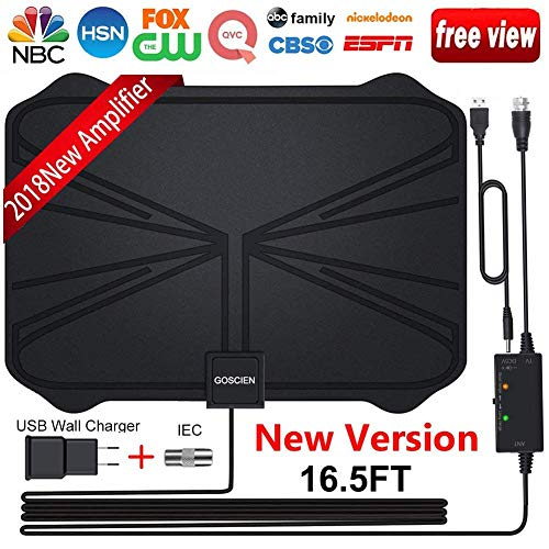 HDTV Antenna, Amplified HD Digital TV Antenna with Long 65-100 Miles Range with Adjustable Amplifier Signal Booster 4K 1080P HD Life Local Channels Support All TV