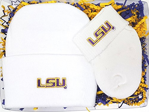 LSU Tigers Newborn Baby Cap and Socks Gift (Lsu Tigers Gift Set)