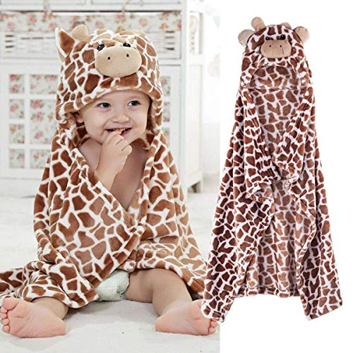 FLAMINGO_STORE Giraffe Bear Shaped Baby Hooded Bathrobe Soft Infant Newborn Bath Towel Blanket 39.37x39.37inch(Giraffe)
