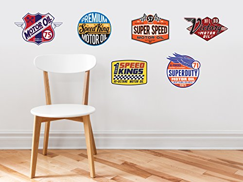 Motor Oil Fabric Wall Decals - 6 Transportation Gas Stickers, Nursery Wall Decals, Transports Peel and Stick, Kids Bedroom Nursery Daycare and Kindergarten Mural, Non-Toxic, Reusable, Respositionable (Uk Sets Furniture Nursery Modern)
