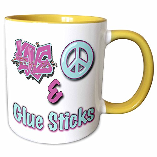 3dRose Blonde Designs Love Peace And In Pastel Blue and Purple - Love Peace And Glue Sticks Pastel Blue and Purple - 11oz Two-Tone Yellow Mug (mug_122387_8) Pastel 11 Ounce Mug