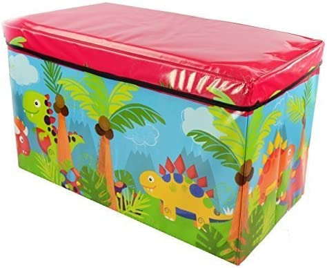 Foldable Large Soft Toy Storage Box for Kids  Wooden Chest Seat for Baby Clothes   Container Book Bench for Boy and Girl   Nursery Trunk   59x35x30cm (Dinosaur)