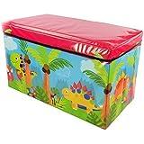 Zizzi - Niños niños almacenaje grande toy box chicos chicas libros pecho ropa asiento taburete shopmonk (dinosaurio)