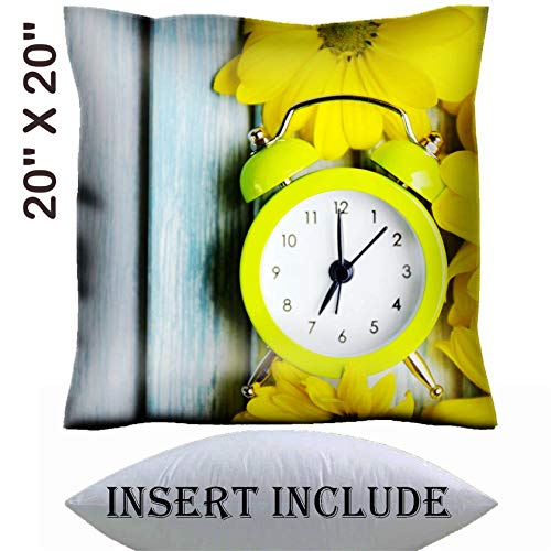 MSD 20x20 Throw Pillow Cover with Insert - Satin Polyester Pillow Case Decorative Euro Sham Cushion for Couch Bedroom Handmade Image ID 27405326 Clock and Beautiful Flowers on Blue Wooden Background (Msd Square Clock)