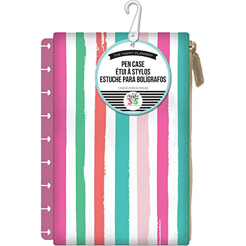 (me & my BIG ideas  PLS-11 Create 365 The Happy Planner Snap in Pouch, Painted Multi-Stripe With Pink Pouch )