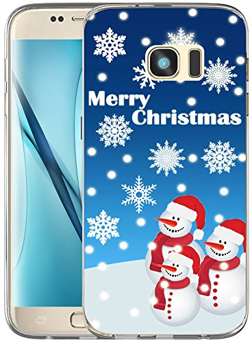 S7 Case Christmas Snowman/IWONE Non Slip Durable Transparent Cover Shockproof Compatible for Samsung Galaxy S7 + Christmas Theme Design Cute Scene Story Gift Present Blue