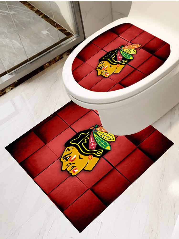 AuraiseHome Stickers for Bathroom Washroom Seat 2-Piece Suit Chicago Blackhawk Toilet Seat Decals Cute by AuraiseHome