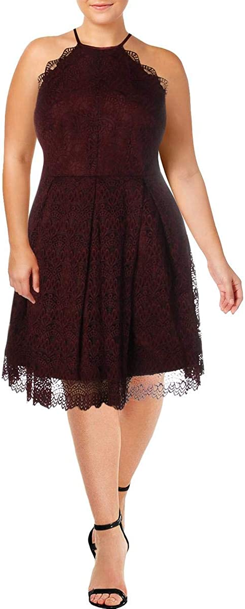 Laundry by Shelli Segal Womens Lace Halter Cocktail Dress