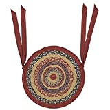 VHC Brands Americana Primitive Tabletop & Kitchen - Providence Red Jute Chair Pad Set of 6