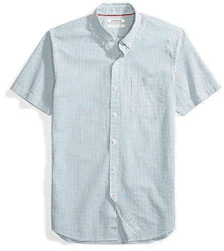 Goodthreads Men's Slim-Fit Short-Sleeve Seersucker Shirt, Blue/Off/White Check, X-Large