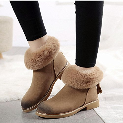 Snow Zips Ankle Winter Boots Girls Women Casual Khaki Warm Freshzone Behind Shoes Eq0wntxE
