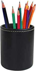 LIZIMANDU Leather Office Pencils Holder,Round Pen Cup Remote Desk Accessories Organizer Desktop Stationery Container Box for Home Office Bedroom(1 Pack,1-Black)