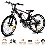 Tomasar Power Electric Bike with Lithium-Ion Battery, 26 inch Wheel Cyclocross Bike (US Stock) (Black White)