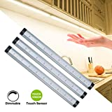 LED Under Cabinet Lighting, B-Right Touch Control Under Counter Light Strips Dimmable 3-Level, 3W 1600lm 3000K Warm White with UL Adaptor Plug for Kitchen,Closet, Shelf.
