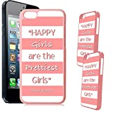 [TeleSkins] - iPhone 5C Designer Pink Plastic Case - Audrey Hepburn Quote Happy Girls Coral Pink Ultra Durable HARD PLASTIC Protective Snap On Back Case / Cover for iPhone 5C