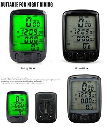 Waterproof LCD Digital Wireless Bicycle Bike Cycle Computer Speedometer Odometer Green LED Backlight 563C by Generic
