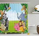 Ambesonne Kids Decor Shower Curtain, Kids Decor Children Nursery Room Safari Themed Cartoon Animals Image Art Print, Fabric Bathroom Decor Set with Hooks, 84 Inches Extra Long, Multicolor