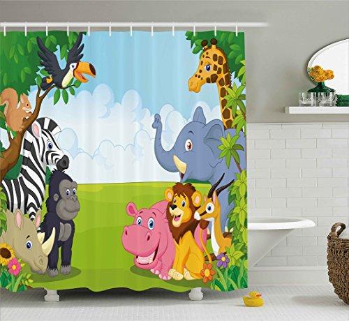 Kids Decor Shower Curtain by Ambesonne, Kids Decor Children Nursery Room Safari Themed Cartoon Animals Image Art Print, Fabric Bathroom Decor Set with Hooks, 70 Inches, Multicolor - Safari Print Curtains