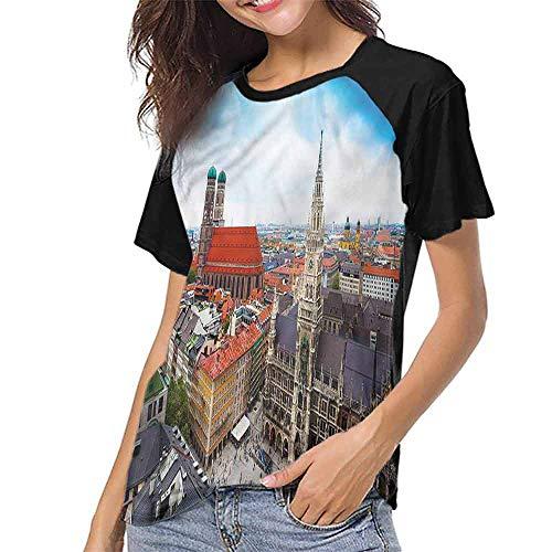 Mens Raglan Baseball T-Shirt,Wanderlust,Munich City Sightseeing S-XXL Casual Blouses Baseball Tshirts Top]()