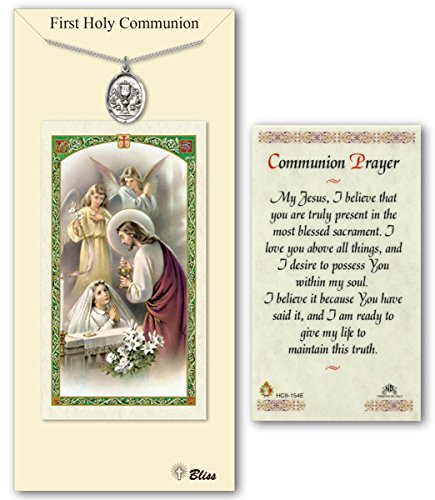 Pewter Holy Communion Girl Medal with Laminated Holy Prayer Card ()