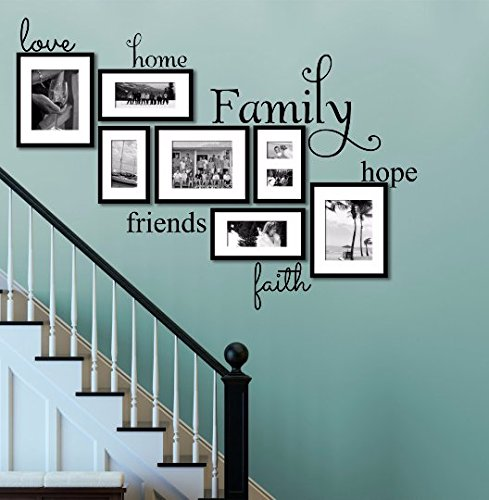 Love, Home, Hope, Family, Friends, Faith, Inspiring Words and Quotes Wall Decals Size Small, Family and Home Wall Decals, Inspired Wall Decals, Picture Frame Decals, AND FREE WHITE HELLO DOOR DECAL (Decor Faith Wall Love Hope)
