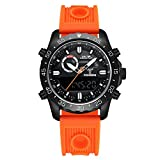 LEAP X PIONEERS Dual Display Sport Watch for Men Backlight Waterproof Military Wrist Watch with Silicone Band LPJ03