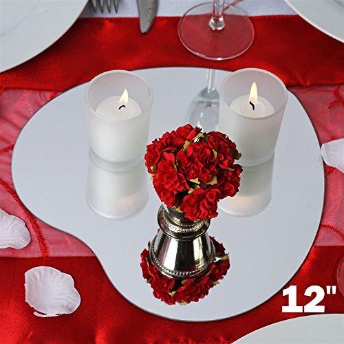 BalsaCircle 36 pc 12'' HEART Glass MIRROR Wedding Table Centerpieces