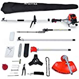 Maxtra Powerful 42.7cc 4 in 1 Trimming Tools, Multi Functional Sets Gas Pole Saw, Gas Hedge Trimmer,Brush Cutter,String Trimmer with 8.2 to 11.4 FT Extension Pole & Carry Bag Comes for Tree Pruning