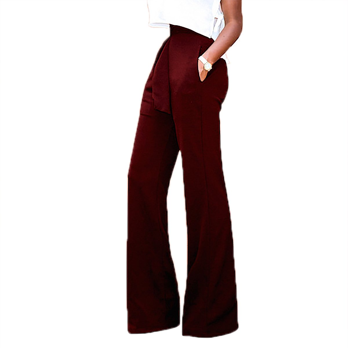 Women's Solid Color High waist Wide Leg Tie Front Workwear Trousers Long Pants QiuLan