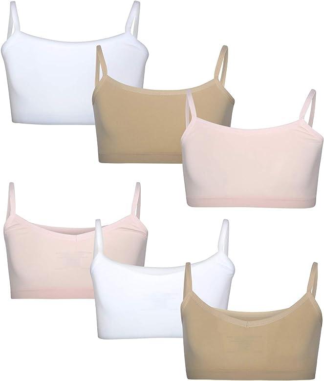6 Pack Rene Rofe Girls Nylon//Spandex Seamless Reversible Crop Top Training Bra