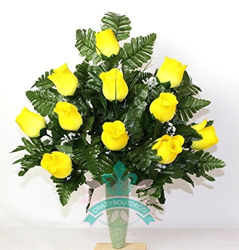 Gorgeous Yellow Roses Cemetery Arrangement For Mausoleum
