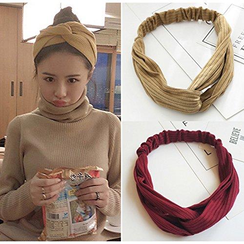 HaloVa Headbands, Elastic Cross Head Wrap Hair Bands Headwear Turban Hair Accessories for Women and Girl, Handmade Cloth Art, Wine, Khaki