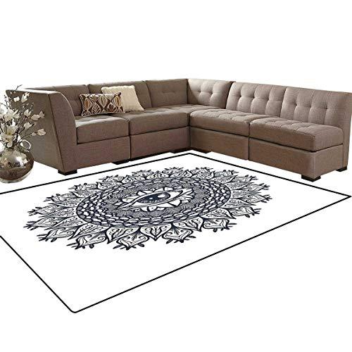 (Occult Bath Mats for Floors Vintage Symmetrical Circular Occult Pattern Knowledge of The Hidden Third Eye Providence Floor Mat Pattern 5'x7' Grey)