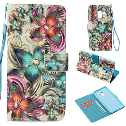 Galaxy A8 2018 Case,Flip Folio Kickstand Wallet Case with Inner Rubber Bumper 3D Printing Credit Card Holder Shockproof Anti-Scratch Full Protective Case for Samsung Galaxy A8 2018 -Kaleidoscope -