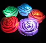 Valentine's Day Flameless candles,6-Battery Powered, Color Changing (7 Colors) LED Romantic Rose Flower Night Light Candle.