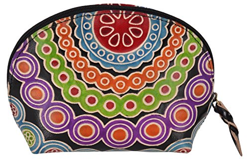 SAAGA Hand Painted Leather Makeup Pouch Cosmetics Bag Makeup Organizer Travel Bag Toiletry Kit in Multi-Colored Design / Handmade : 6x4x2 inches (LxBx…