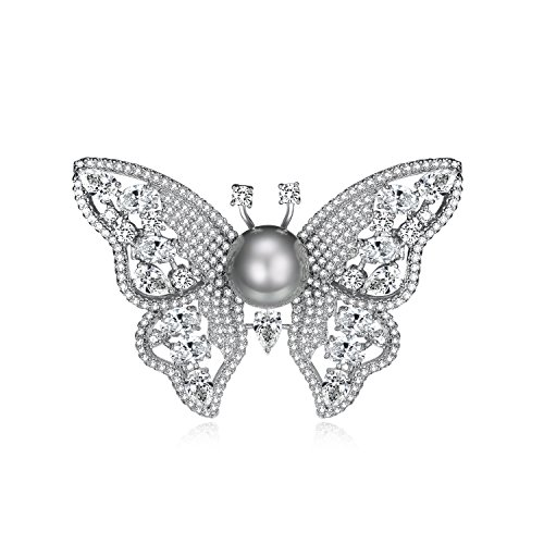 UMODE Butterfly Brooches and Pins, Gray Pearl Cubic Zirconia Brooch for Women Butterfly Cubic Zirconia Brooch