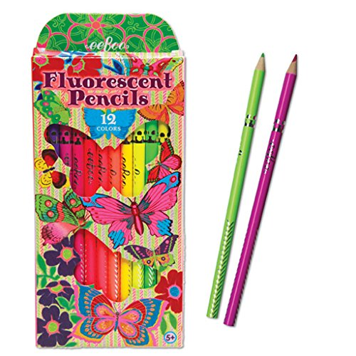 eeBoo Butterfly Fluorescent Pencils, Set of (Eboo Colored Pencils)