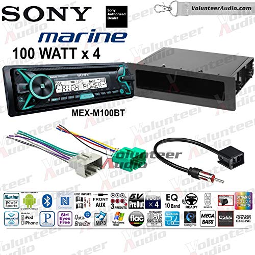 Sony MEX-M100BT Single Din Marine Radio Install Kit With Sirius XM Ready, CD Player, 100W Built-In Amp Fits 2000-2003 Volvo S40 - (Must Have Factory Bracket to Install Pocket)