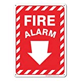 Fire Alarm Sign With Arrow, Large 10 X 7