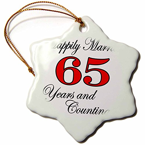 3dRose orn_193413_1 Happily Married 65 Years and Counting. Red-Snowflake Ornament, Porcelain, 3-Inch