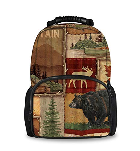 Casual Water Resistant Daypack, Travel Outdoors Rucksack for Teens Youth, Rustic Lodge Bear Moose