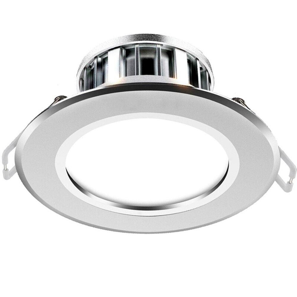 SEESUNG Lighting LED Downlight Ceiling Light Metal Aluminum Sand Silver 4W Positive White 6000K Hole 7.5-8.5Cm (Pack Of 2)