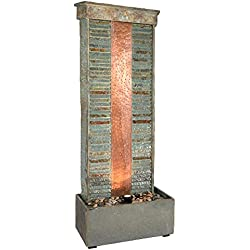 Sunnydaze Rippled Slate Indoor/Outdoor Water Fountain with Copper Accents and LED Spotlight, 48 Inch Tall